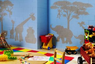 Contemporary Playroom with Mural, Carpet
