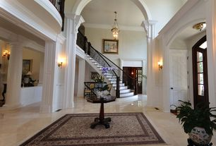 Traditional Entryway with Wall sconce, Crown molding, sandstone tile floors, Balcony, flush light, specialty door