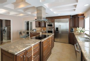 Traditional Kitchen with Raised panel, High ceiling, U-shaped, Ceramic Tile, Glass panel door, Breakfast bar, Box ceiling