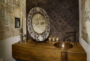Eclectic Powder Room with Wood counters, Signature Hardware Mabel Widespread Sink Faucet, Pendant light, interior wallpaper