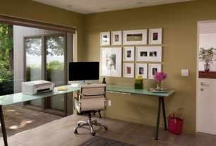 "Modern Home Office with Gallery wall, picture window, can lights, Dutch door, Disappearing sliding glass doors (""nano doors"")"