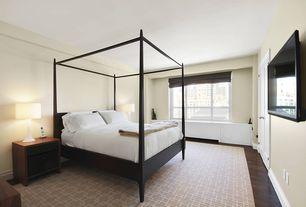 Contemporary Master Bedroom with Smith & Noble Custom Soft Roman Fabric Shade, Pottery Barn Farmhouse Canopy Bed