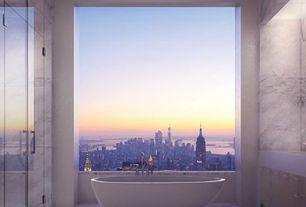 Contemporary Master Bathroom with frameless showerdoor, European Cabinets, Victoria & Albert Napoli Bath Tub, Freestanding