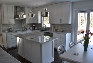 Traditional Kitchen with Pental White Carrara Honed Marble, Hardwood floors, Kitchen island, Armstrong Flooring Oak Midnight