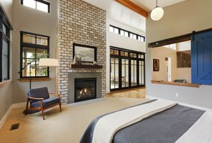Contemporary Master Bedroom with Carpet, Pendant light, High ceiling, French doors, Hardwood floors, Exposed beam