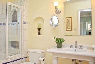 Traditional Full Bathroom with Console sink, Tiled shower, Rejuvenation victorian pedestal single sink console, Wall sconce