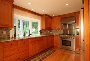 Traditional Kitchen with Undermount sink, Bay window, Crown molding, Hardwood floors, Galley, Complex granite counters