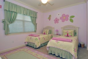 Country Kids Bedroom with Crown molding, no bedroom feature, Carpet, specialty window, Ceiling fan, Standard height