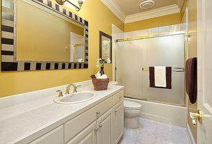 Traditional Full Bathroom with Arizona Tile Nu Travertine Series Porcelain Tile, Raised panel, tiled wall showerbath