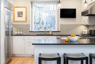 Contemporary Kitchen with U-shaped, European Cabinets, Undermount sink, Pental black soapstone, Soapstone counters