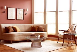 Contemporary Living Room with Wall sconce, Decorus Hondrum Side Table, Hardwood floors, Platner Coffee Table