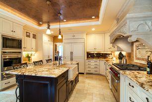 Traditional Kitchen with Breakfast bar, Flush, Stone Tile, Ms international siena beige granite counter, Pendant light