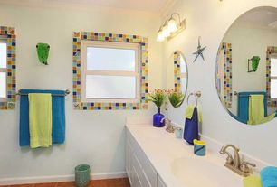 Eclectic Master Bathroom with La Fuente Talavera Tile Sky Blue 2 X 2, Corian solid surface countertop in designer white