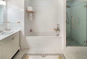 Traditional Master Bathroom with full backsplash, Rain shower, Standard height, frameless showerdoor, Master bathroom, Shower