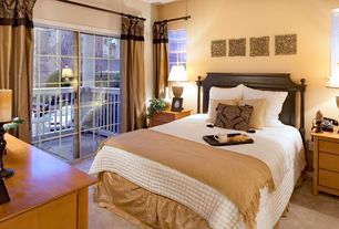 Traditional Guest Bedroom with Carpet, Standard height, sliding glass door, double-hung window