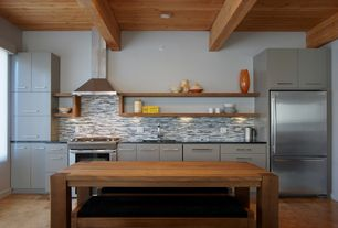 Contemporary Kitchen with Simple granite counters, Kitchen island, Wood counters, Flush, One-wall, Ceramic Tile, Exposed beam