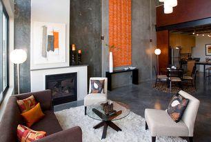 Contemporary Living Room with Safavieh - California Shag Area Rug, West Elm - Bergen Sofa, Chandelier, High ceiling