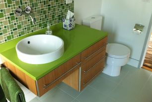 Contemporary Full Bathroom with full backsplash, Standard height, Vessel sink, European Cabinets, Corian counters, Wall Tiles