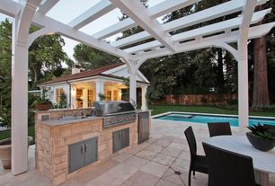 """Traditional Patio with Screened porch, Trellis, Knoll saarinen 47"""" round dining table 2gcs/white/carrara satin, Paint, Fence"""