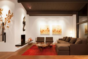 Contemporary Living Room with Pendant light, specialty window, Exposed beam, Standard height, Laminate floors