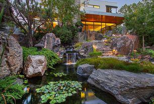 Asian Landscape/Yard with Pond, OrlandiStatuary Pagoda Yukimi Japanese Statue, White Hardy Water Lily, Pathway