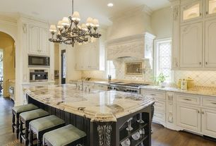 Traditional Kitchen with Chandelier, Kitchen island, Inset cabinets, L-shaped, Complex granite counters, Breakfast bar