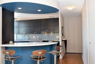 Contemporary Kitchen with Undermount sink, One-wall, Ceramic Tile, Kitchen peninsula, Flush, Corian counters, flush light