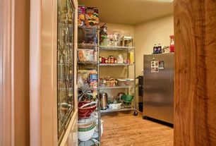 Contemporary Pantry with Glass panel door, Hardwood floors
