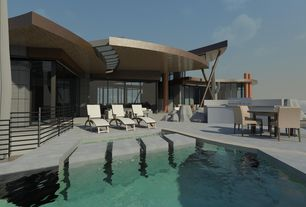 Contemporary Swimming Pool with Trellis, Outdoor kitchen