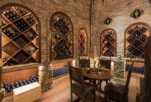 Traditional Wine Cellar with interior brick, High ceiling, Built-in bookshelf, Hardwood floors