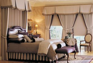 Traditional Master Bedroom with Crown molding, Box ceiling, Hardwood floors, French doors