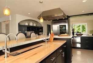 Contemporary Kitchen with Pendant light, L-shaped, Wood counters, European Cabinets, Flush, Breakfast bar, Undermount sink
