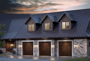 Country Garage with Exterior of garage, Natural wood garage door, Metal Sales 14 ft. Classic Rib Steel Roof Panel