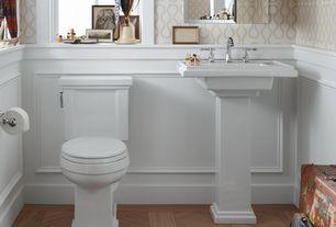 Traditional Powder Room with Pedestal sink, Standard height, Hardwood floors, Herringbone hardwood floor, Powder room