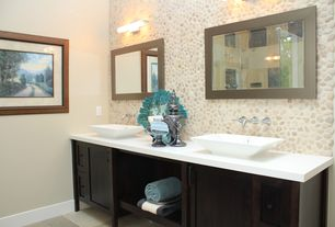 Contemporary Master Bathroom with Solistone Decorative Pebbles Random Sized Interlocking Mesh Tile in Brookstone, Vessel sink