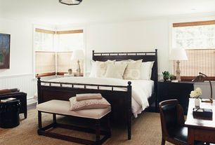 Traditional Guest Bedroom with Magnussen Southampton Panel Bed, flush light, Hardwood floors, Chair rail, Crown molding