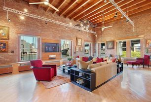 Contemporary Living Room with interior brick, Ceiling fan, Exposed beam, High ceiling, Laminate floors, Wainscotting