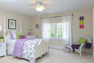 Eclectic Kids Bedroom with Carpet, flush light, specialty door, Ceiling fan