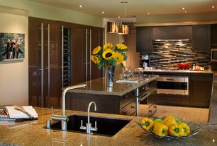 Modern Kitchen with limestone tile floors, MS International Tropical Brown Granite, Undermount sink, electric cooktop
