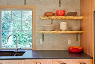Contemporary Kitchen with Symmons Dia Single Handle Pull Down Kitchen Faucet, Simple granite counters, European Cabinets