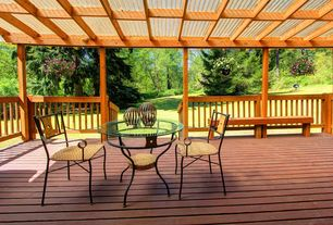 Rustic Deck with Covered outdoor seating area, Covered deck, Trellis