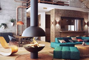 Contemporary Living Room with Exposed ductwork, Bentwood cantilever chair, Loft, Hardwood floors, Pendant light, Wall sconce