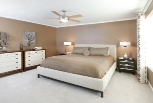 Contemporary Master Bedroom with Crown molding, Carpet, Built-in bookshelf, Ceiling fan, flush light