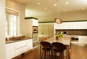 Contemporary Kitchen with Pendant light, Undermount sink, Soapstone, European Cabinets, L-shaped, Soapstone counters, Flush