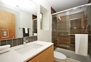 Contemporary 3/4 Bathroom with Stone Tile, Daltile Liners - Cityline Kohl, Dal tile Bay Bridge Wood-Look Tile, Flush