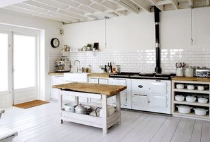 Cottage Kitchen with Hammersmith subway tile, full backsplash, double oven range, Exposed beam, Standard height, Subway Tile