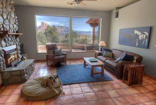 Gray Living Room Terracotta Tile Floors Metal Fireplace Zillow Digs