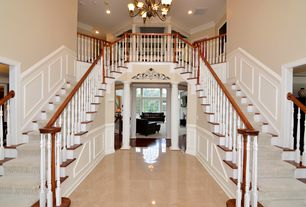 Traditional Staircase with Carpet, MS International Marble Crema Marfil Select Tile, Wainscotting, High ceiling