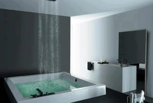 Modern Full Bathroom with Undermount sink, Laminate floors, Room&board - infinity 34x88h leaning mirror, Rain shower