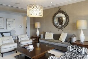 Contemporary Living Room with Chelsea 4040-L Holly Bench - Leopard, Paint 1, Hardwood floors, Oly Studio Serena Drum Pendant